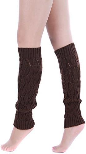 TININNA Medias Calcetines Invierno Caliente Ahueca hacia Fuera Legging de Punto de Punto de Ganchillo Calentadores de la Pierna Calcetines Altos de Arranque Calcetines para Muchachas de Las Mujeres