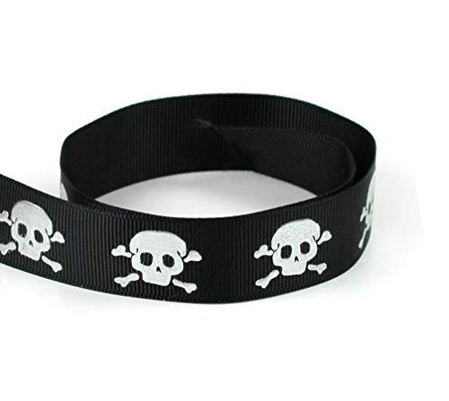 (Polyester Grosgrain Ribbon - Sparkle Silver Skull Crossbones Ribbon 10 Yards 7/8
