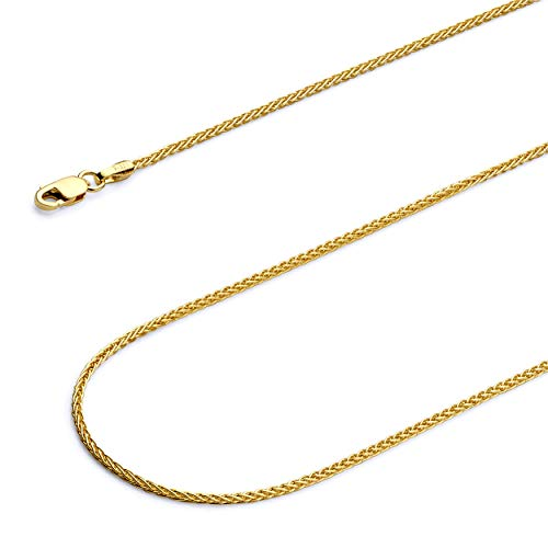 Wellingsale 14k Yellow Gold SOLID 1.3mm Polished Round Wheat Chain Necklace - 16