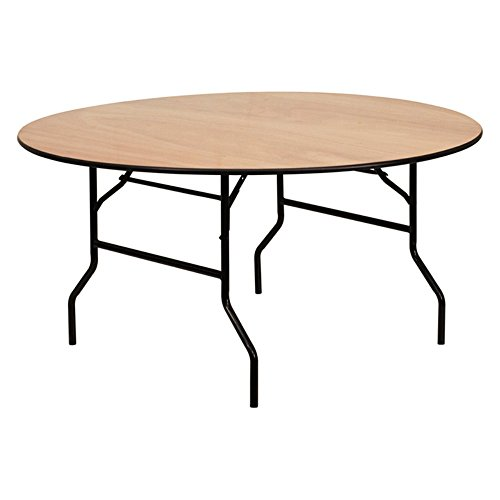 Round Folding Banquet Table with Clear Coated Finished Top - 60 in. - Finished Settee