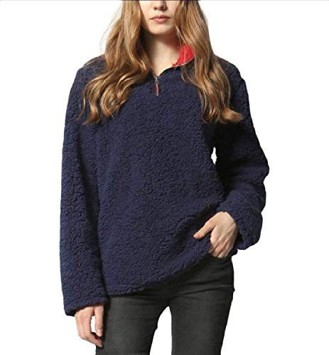 Jacket Shirt Solid Autunno Da Somoll Plush Giacca Warm Trench Pullover Inverno Donna Navy Blue UqXnpwpxP