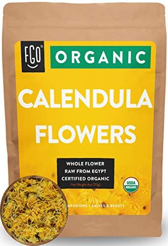 Organic Calendula Flowers | Whole | 4oz Resealable Kraft Bag | 100% Raw From Egypt | by Feel Good Organics (Marigold Organic)