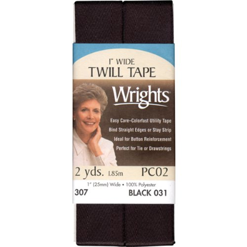 Polyester Tape Twill (Wrights 117-307-031 Twill Tape, Black, 2-Yard)