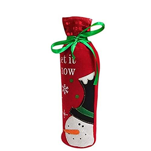 Stockings & Gift Holders - Wine Bottle Decor Santa Snowman Deer Cloth Kitchen Decoration Dinner Party - Christma Day Vino Yuletide Noel Christmastime Yule - 1PCs by Number onE