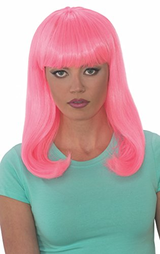 Rubies Womens Glow Babe Wig, Pink, One Size