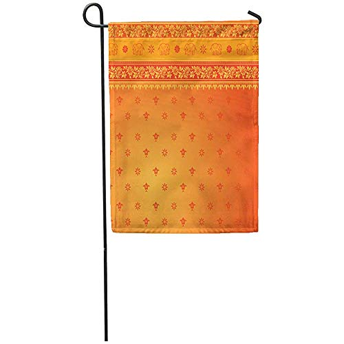 Staroind Garden Flag 12x18 Inches Print On Two Side Polyester Red Indian Orange Sari Border Pattern Dress Home Yard Farm Fade Resistant Outdoor House Decor Flag