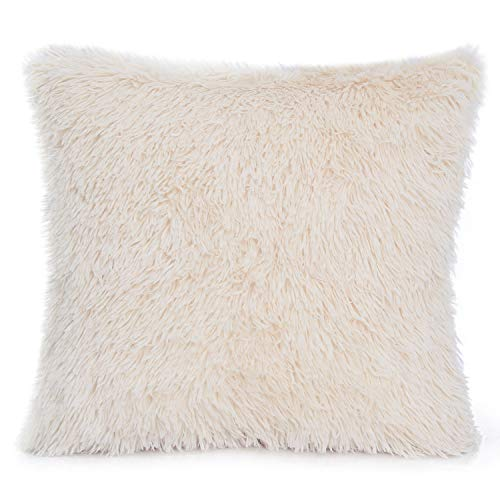 LONGFINE Five Colors for Luxury Style Faux Fur Pillow Case,Home Decorative Pillows,Cushion Cover for Sofa,Bedroom(18 x 18 Inch) (Beige)