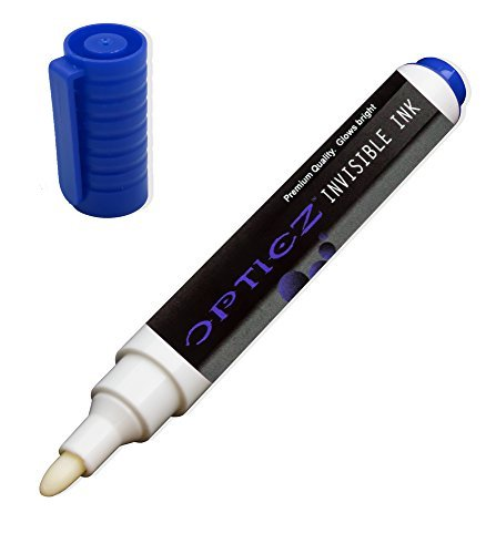 Opticz UV Blacklight Reactive Large Tip Invisible Ink Marker, Blue UltraViolet Distributing RSMARKB