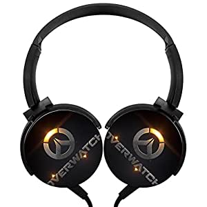 Over-watch logo Stereo Headphones Lightweight with Mic Over Ear, Sport Headsets for IPhone, IPad, Smartphone and TV 3.5mm Black