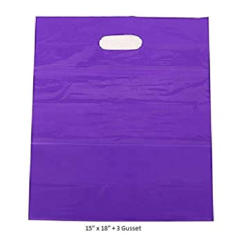 50 bolsas de plástico púrpura grandes de 38 x 45 cm + 7,6 cm ...