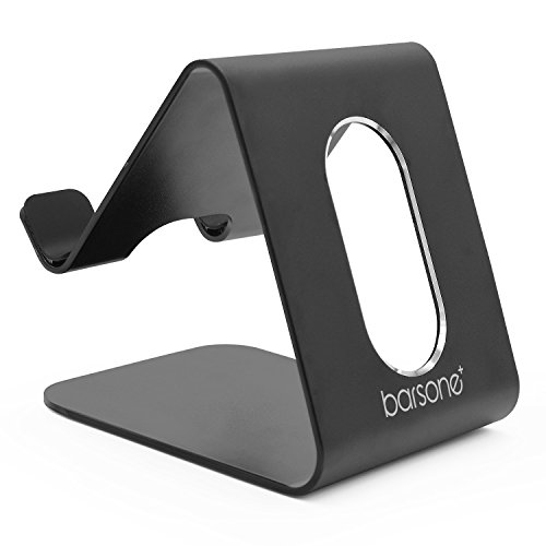Cell Phone Stand, Barsone Aluminium Phone Holder Mount Stand for Phones and Tablets (Updated Black)