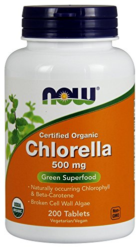 NOW Chlorella 500 mg, Certified Organic,200 Tablets