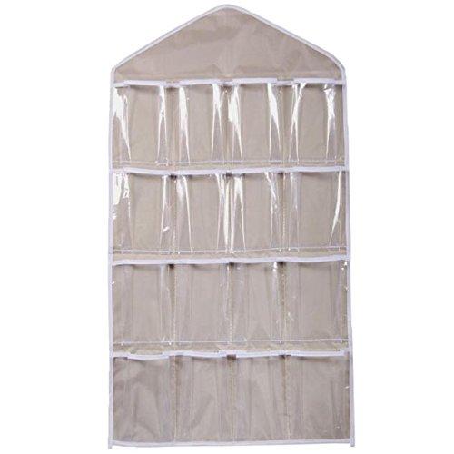 Louyue Closet & Door Hanging Organizer with Rotating Metal Hanger, Mesh Pockets and Dual Sided Wall Shelf Wardrobe Storage Bags for Bra Sock Shoe Jewelry Gadget