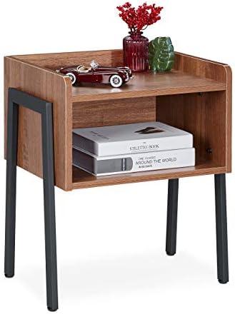 Relaxdays Bijzettafel industrile stijl 2 planken nachtkastje houtlook staal h x b x d 53 x 45 x 35 cm bruinzwart 1 stuk
