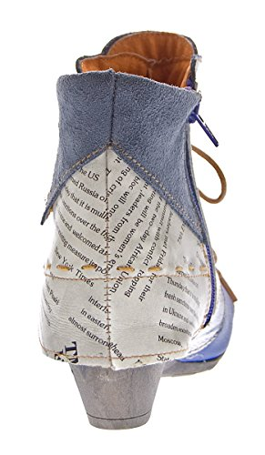 TMA Damen Stiefeletten Echtleder Knöchel Schuhe Leder Boots Trichterabsatz TMA 6106 Rot Grün Schwarz Weiß Gr. 36 - 42 Blau