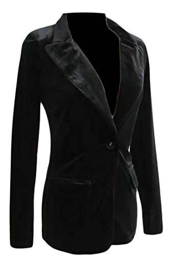 Alion Women Vintage Slim Fit One Button Velvet Suit Blazer Black XXS (Jacket Black Blazer Vintage Velvet)