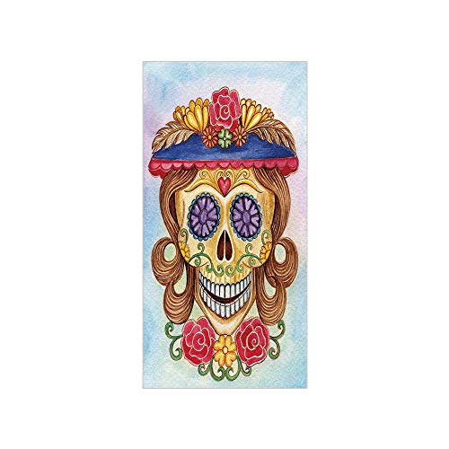 3D Decorative Film Privacy Window Film No Glue,Day of The Dead Decor,Cute Lady Mommy Skull Head with Flower Hat Spanish Mexican Art Print,Multicolor,for Home&Office