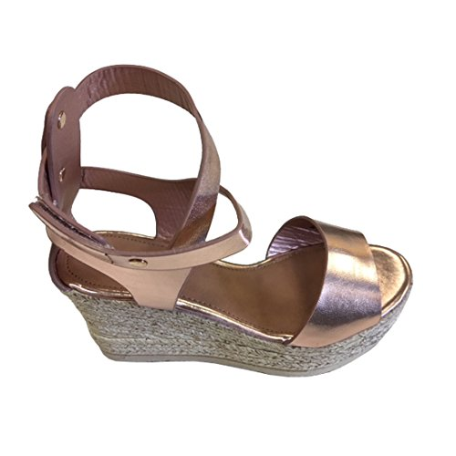 Refresh FQ42 Women's Strappy Metallic Studded Platform Wedge Heel Sandals, Color Rose Gold, (Faux Leather Strappy Heel Wedge)