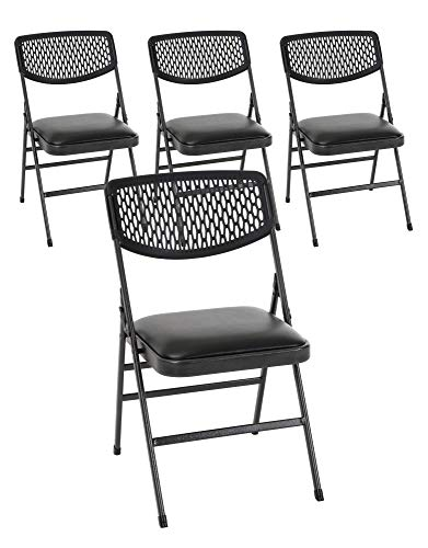 Cosco Commercial Vinyl Folding Chair, 4 Pack, Black Fabric/Hammertone Frame
