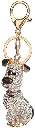 KKCVGENBOLI かわいい子犬キーホルダーラインストーン亜鉛合金キーチェーン動物ペンダント金属アクセサリーぶら下げの装飾品