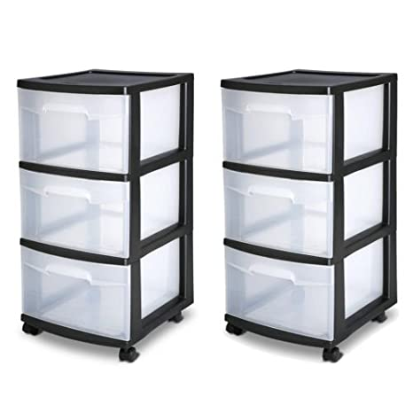 Home Organization Home & Garden 3 Drawer Organizer Set Of 2 Cart Black Plastic Craft Storage Container Rolling