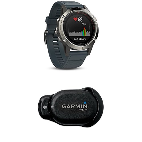 Garmin Fenix 5 - Silver with Granite Blue Band and Temperature Sensor for the Fenix Outdoor Watch by