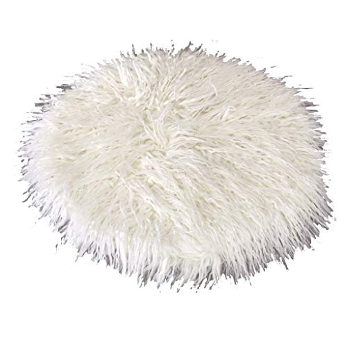Time Concept Warmth Eco-Fur Chair Pad - White - Faux Fur Seat Cover, Polyester-Acrylic Blend