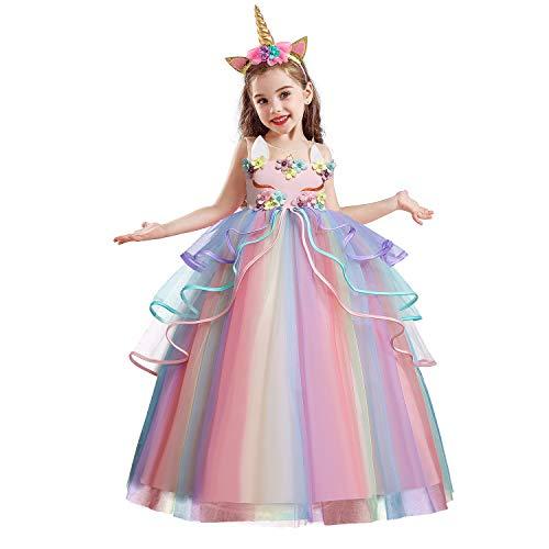 NNJXD meisjesjurk, eenhoorn-applicaties, feest, cosplay, Halloween, verkleden
