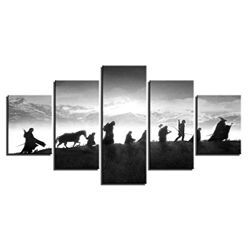 OJKYK The Lord of The Rings Movie Poster Prints On Canvas 5 Panel Painting Pictures Wall Art Canvases Printed for Living Room Home Decor, No ()