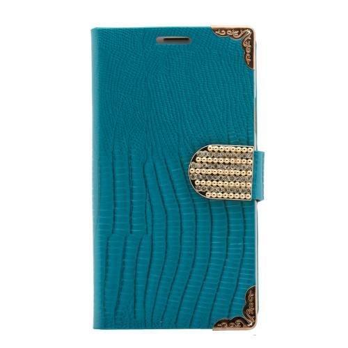 Luxus Design Strass Handy Tasche Schutz Hülle für LG Optimus 4X HD P880 Türkis Book Style PU Leder Klapp Etui Glitzer Case Flip Cover Bag