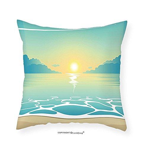 VROSELV Custom Cotton Linen Pillowcase Turquoise Evening Seashore at Sunset Waves Clouds Plane Flying in Sky Aquatic Island for Bedroom Living Room Dorm Aqua Cocoa White (Cocoa Full Sleeper Sofa)