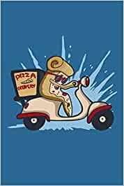 Pizza Delivery: Notebook 6x9 Checkered White Paper 118 Pages | Pizza Delivery Scooter