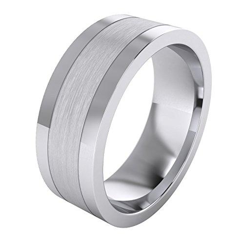 Hot Heavy Solid Sterling Silver 8mm Flat Court Shape Brushed Center Polished Sides Mens Ring Wedding Band hot sale