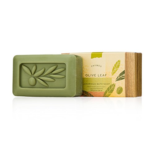 Thymes - Olive Leaf Luxurious Bath Soap - Naturally Conditioning Bar Soap with Moisturizing Olive Oil - 6 oz