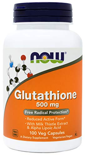 Now Glutathione 500 mg, 100 Vegan Capsules - Reduced Form GSH Supplement - Enhanced with Milk Thistle Extract and Alpha Lipoic Acid - Glutathione 500 Mg 60 Capsules