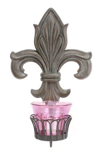 Stonebriar Collection Fleur de Lis Sconce with Plum Glass Cup (Fleur Sconces De Lis)