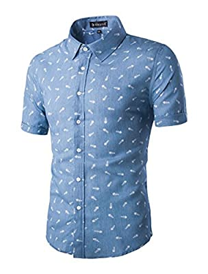 Allegra K Men Short Sleeves Fishbone Prints Cotton Chambray Button Down Shirt