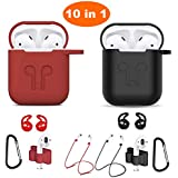 Airpods Case, Airpods Accessories Kits, 10 in 1 Protective Silicone Cover and Skin for Apple Airpods with Anti-Lost Airpods Strap, Airpods Watch Band Holder, Airpods Ear Hook(Black and red)