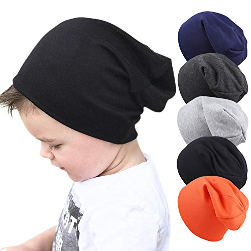 Zando Baby Boys Girls Beanies Hat Infant Toddler Cotton Beanie Kids Cool Knit Cap 5 Pack D One Size (6-60 Months)