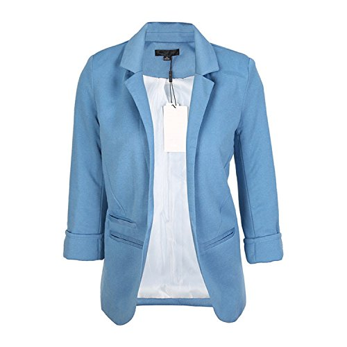 Price comparison product image JIANGTAOLANG Women Slim Fit Blazer Jackets Notched Office Work Open Front Candy Color Blazer Light Blue XL