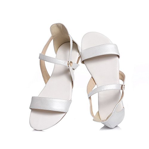 AmoonyFashion Womens Buckle Open Toe No Heel Cow Leather Solid Flats-Sandals White 9IH4yqxypX