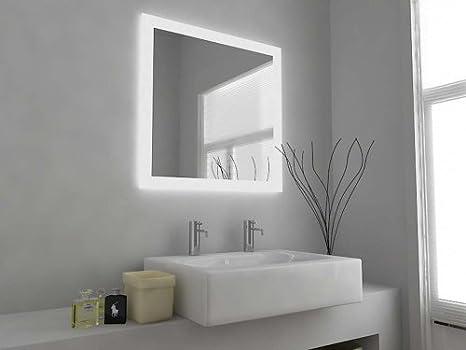 Specchio da bagno design moderno illuminato con sensore e panno
