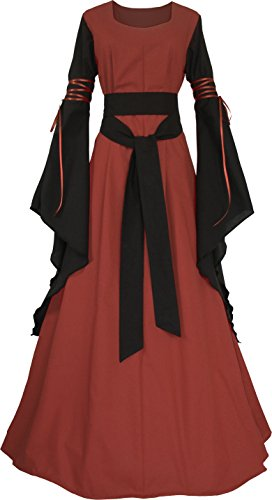Damen Dornbluth schwarz Mittelalterkleid Ziegelrot Hedwig BwwpHS