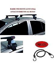 Compatibel met Toyota Aygo 5p 2010 (68023) dakdragerstangen voor autodak, 110 cm, stang voor auto zonder leuning met rechte bevestiging op stalen dakdragers