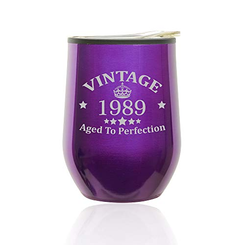 - Stemless Wine Tumbler Coffee Travel Mug Glass with Lid Vintage Aged To Perfection 1989 30th Birthday (Royal Purple)