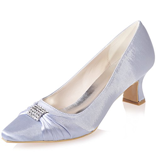 Pointed Shoes Sarahbridal 7 Szxf0723 Girls Party 5 Uk Uk Wedding Toe Satin Women Size Bridal Evening Heels Prom For Silver 4 03 Low Shoe q55XRrw
