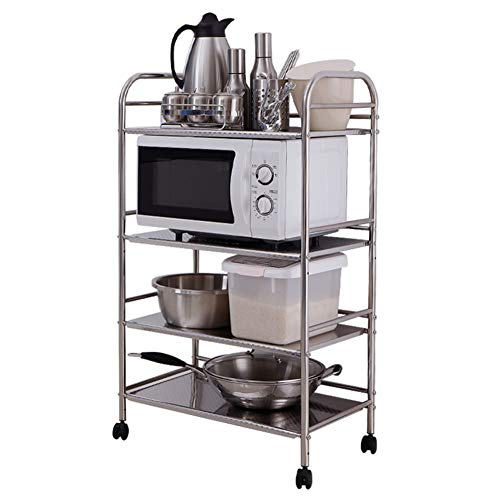 Shelf Storage Racks Cupboard Organizers Kitchen Landing Stainless Steel Four Floors Microwave Oven Rack It Can Move Wheeled Storage Rack 6034100.5cm ZHAOYONGLI by ZHAOYONGLI-shounajia (Image #6)