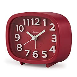 "Alarm Clock, Chelvee 3"" Quartz Analog Alarm Clock with Night Light, Ultra Small, Silent with No Ticking (Red)"