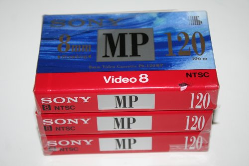 Price comparison product image SONY 8mm Video Cassette Tape P6-120MP - 120 Minutes (3 pack)