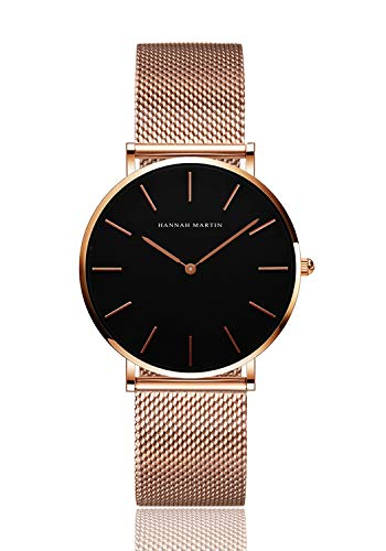 Women's Analog Quartz Rose Gold Watch with Stainless Steel Mesh Strap Ladies Watch Simple and Elegant (Black Dial)